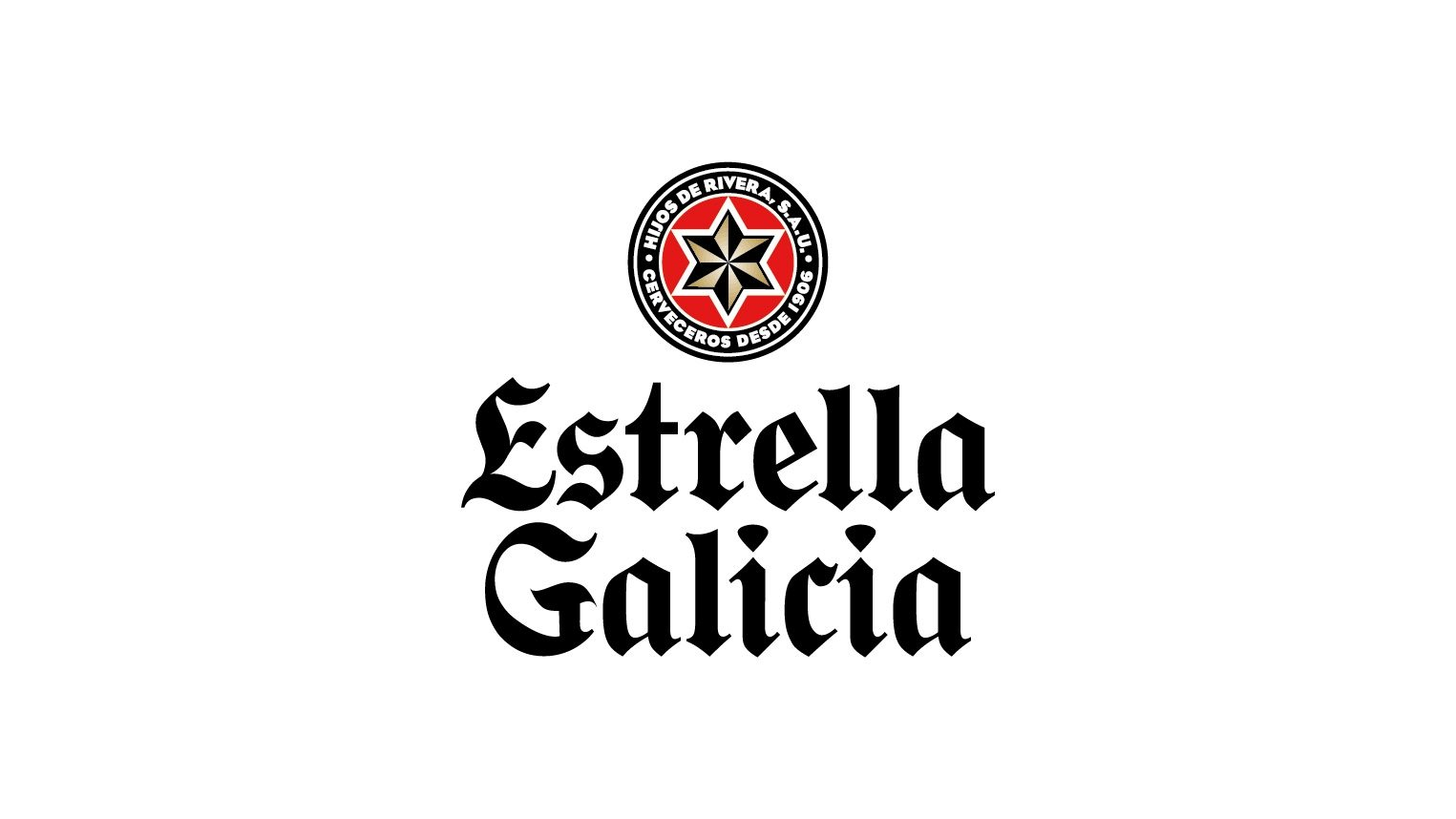 Estrella Galicia Vertical Logo (White Background/ Black Text)